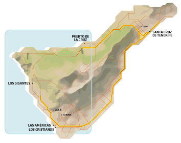 Map of Tenerife with information about getting to the Masca Trail